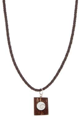 LINK-UP Sterling Silver Shiwa Eye Pendant Leather Necklace