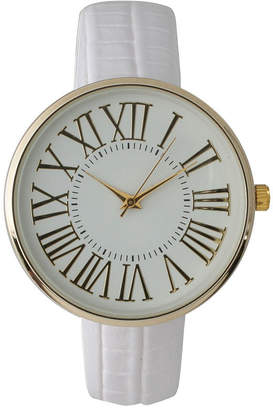 OLIVIA PRATT Olivia Pratt Womens Gold-Tone White Dial White Croc-Embossed Leather Strap Watch 14328