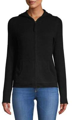 Lord & Taylor Petite Hooded Cashmere Zip Up Sweater
