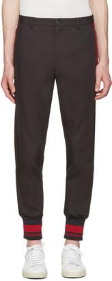 Dolce & Gabbana Grey & Red Rib Knit Cuff Trousers $895 thestylecure.com