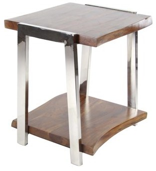 DecMode Decmode Natural Kanaloa Wood and Stainless Steel Side Table, Natural Brown