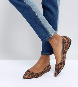 Asos DESIGN LATCH Pointed Ballet Flats in leopard