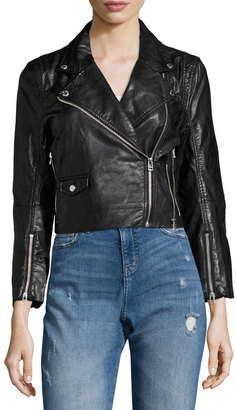 Cheap Monday Visit Faux-Leather Cropped Moto Jacket, Black $139 thestylecure.com