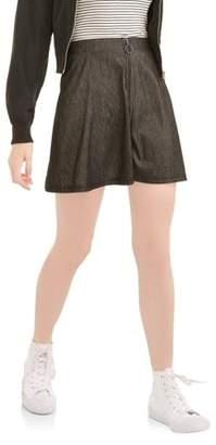 No Comment Juniors' Knit Denim Skater Skirt with Metal Zipper
