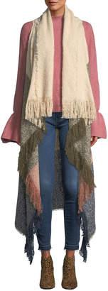 Vince Camuto Boucle Colorblock Fringe Vest