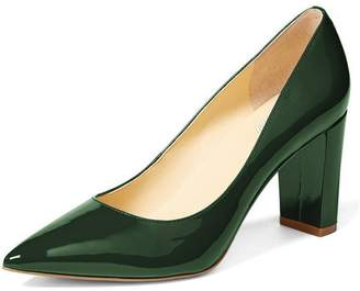 YDN Women's Classic Pointy Toe OL Pumps Slip-on Patent Leather Block Heel Dress Shoes 9