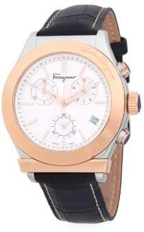 Salvatore Ferragamo Stainless Steel and Textured Leather-Strap Watch