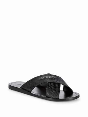 Roberto Cavalli Men's Cross Band Leather Sandals