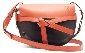 Loewe Gate Small Two Tone Leather Cross Body Bag - Womens - Orange Multi