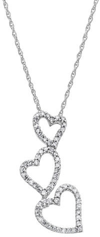 Lord & Taylor 14 Kt. White Gold Diamond Heart Drop Necklace