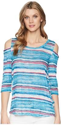 Tribal Printed Crinkle Jersey 3/4 Sleeve Cold Shoulder Top Women's Short Sleeve Pullover