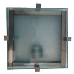 Linea Sima One Light Square Oyster Light in Satin Chrome