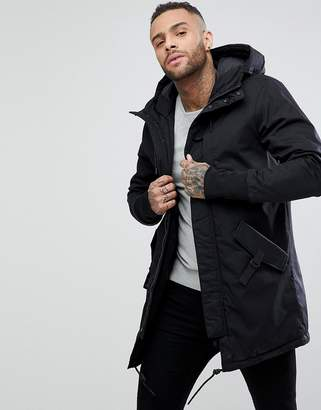 Pull&Bear Quilted Parka With Hood In Black