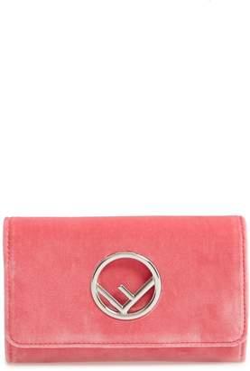 Fendi Logo Small Velvet Wallet on a Chain