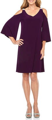 MSK 3/4 Sleeve Cold Shoulder Embellished Party Dress