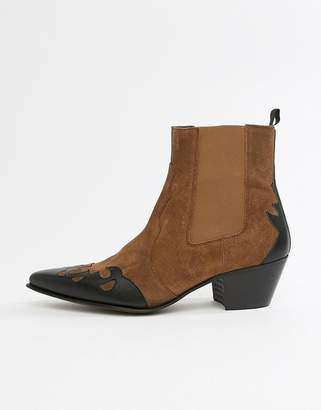 Asos Design DESIGN cuban heel western chelsea boots in tan suede and leather mix