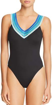 Kenneth Cole V-Neck One Piece Swimsuit