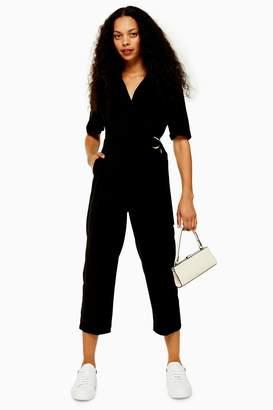 Topshop Womens Petite Black Utility Buckle Jumpsuit - Black
