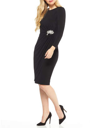 Maggy London Jewel-Neck Embellished-Waist Dress