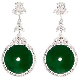 LC Collection Jade Diamond jade 18k gold cutout disc drop earrings
