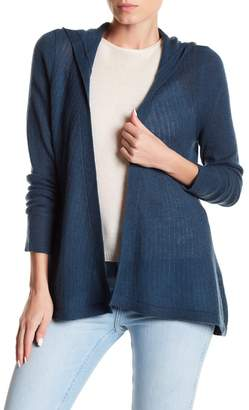 Spun by Subtle Luxury Cashmere High/Low Open Face Hooded Cardigan