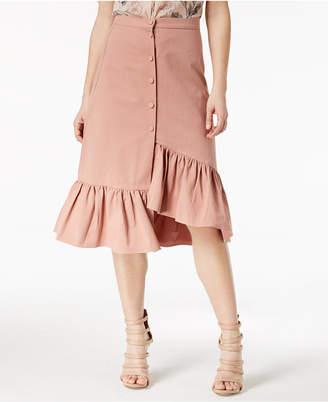 J.o.a. Cotton Ruffled Asymmetrical Skirt