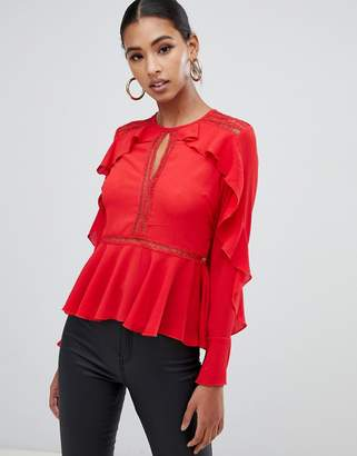 Missguided ruffle trim lace insert blouse in red