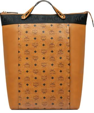 MCM Essential Tote Pack In Visetos And Leather