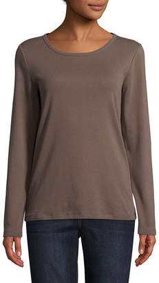 ST. JOHN'S BAY Long Sleeve Round Neck T-Shirt-Womens