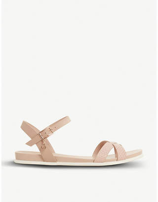 Dune Loco textured flat leather sandal