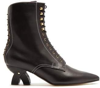 Point-toe lace-up leather ankle boots