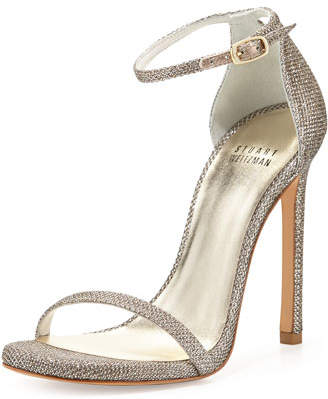 Stuart Weitzman Nudist Ankle-Strap Sandals, Platinum