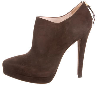 Miu Miu Miu Miu Suede Pointed-Toe Booties