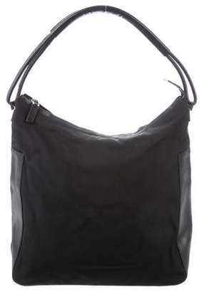 Gucci Leather-Trimmed Canvas Hobo Black Leather-Trimmed Canvas Hobo