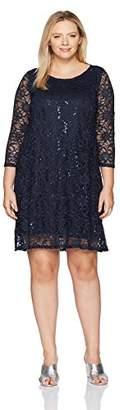 Tiana B Women's Plus Size Sequin Lace Trapeze