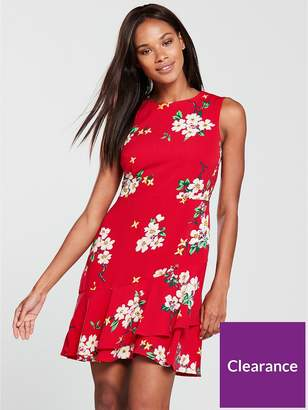 Warehouse Blossom Print Dress - Red
