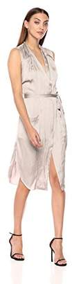 Halston Women's Sleeveless Tie Waist Shirt Dress Pockets