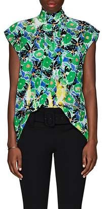 Prada Women's Gardenia-Print Silk Blouse