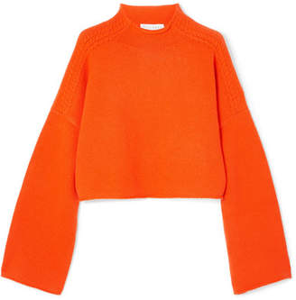 1091d53a89b24d J.W.Anderson Oversized Cropped Cable-knit Wool And Cashmere-blend Sweater -  Orange