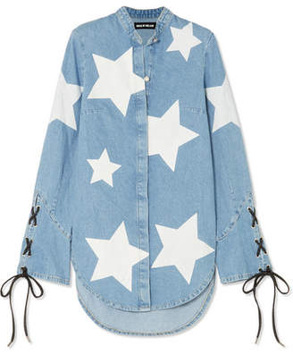 House of Holland Faux Leather-trimmed Printed Denim Shirt - Blue