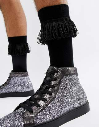 Asos DESIGN fringed socks in black