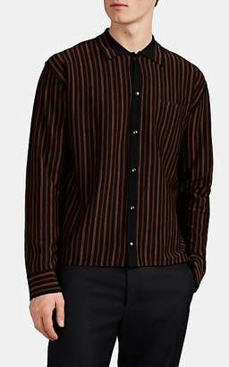 Lanvin Men's Striped Merino Wool Shirt - Black