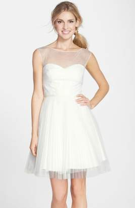 Monique Lhuillier Bridesmaids Illusion Yoke Tulle Fit & Flare Dress