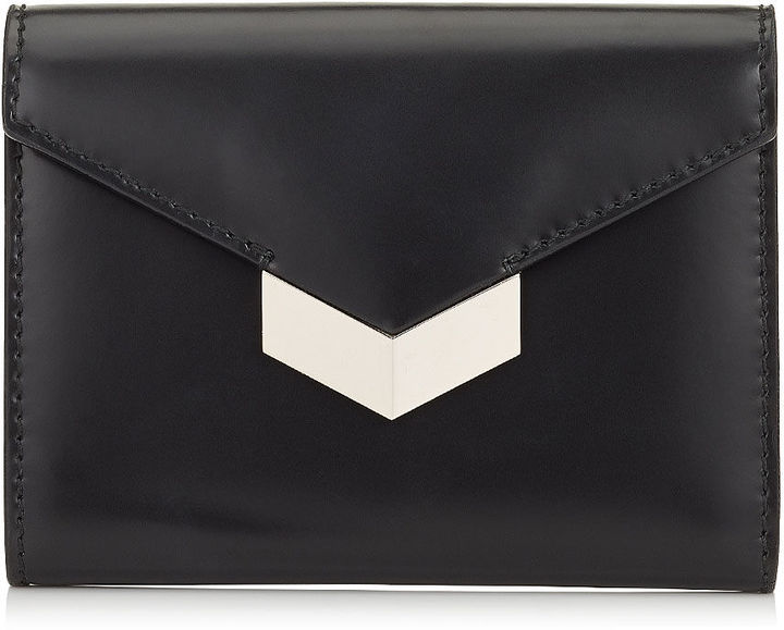 Jimmy Choo LEONIE Black Grainy Leather French Wallet