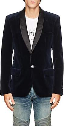 Balmain Men's Velvet One-Button Tuxedo Jacket - Navy