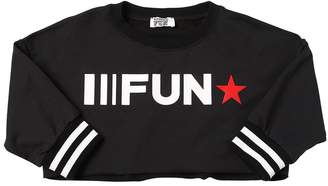 MonnaLisa Fun Logo Printed Cropped Cotton Sweatshirt
