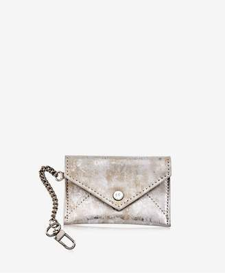 GiGi New York Mini Envelope With Clip In Silver Brushed Metallic