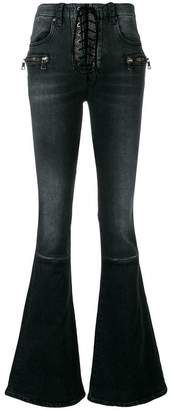Unravel Project lace-up flared jeans