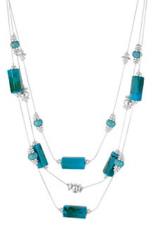 Kenneth Cole Turquoise and Silvertone Geometric Bead Illusion Necklace