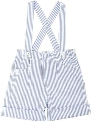 Il Gufo Cotton Seersucker Shorts W/ Suspenders